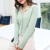 Women's Hoodies & Sweatshirts Female cardigan in knitted or crocheted, short and loose jacket with v-neck, autumn fashion, X6ZZ