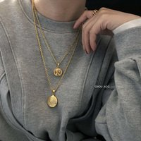 necklace cool wind simple human head gold coin round card laminated sweater clavicle men and women