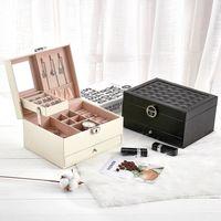 Scatola di immagazzinaggio di gioielli in pelle Grande capacità Cassetto coreano multistrato Cosmetico