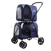 Light Folding Double-layer Pet Stroller Dog Detachable Cat Cage Four-wheeled Outdoor Trip Car Seat Covers