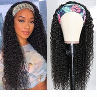 100% Human Hair Headband Scarf Wig Water Wave Human Hair Wig No plucking wigs for Women