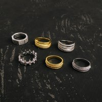 S925 Sterling Silver three-layer octagonal circle cross rings transshipment bead various styles personality trend luxury jewelry Monaco ring