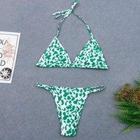 Spot baskı ile bölünmüş bikini üçgen mayo ms triangl mayo