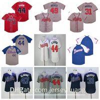 Retror 1974 1999 Vintage Baseball 49 John Rocker Jersey 44 행크 아론 47 Glavine Pullover Retire Stitched Navy Blue Gray 화이트 레드 팀