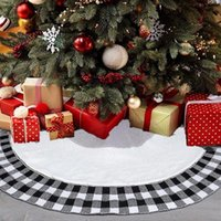 Christmas Decorations Decoration Acrylic Top Knit Black And White Checked Tree Skirt Apron Home