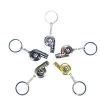 Real Whistle Sound Turbo Keychain Sleeve Bearing Spinning Auto Part Model Turbine Turbocharger Key Chain Ring Keyfob Keyring Interior Decora