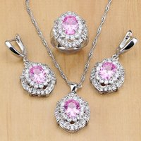Wedding Jewelry Sets Mystic Pink Zircon White Crystal 925 Silver For Women Party Accessories Earrings Pendant Necklace Rings