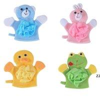 4 Renkler Hayvanlar Stil Duşlar Sünger Havlu Sevimli Çocuk Bebek Duş Banyo Havlusu Banyo Yıkama Bezi Vücut Scrub Eldiven Banataları HWE8367