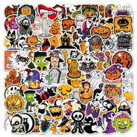 100PCS Halloween Theme Sticker Pumpkin Bat Cartoon Party Decls Graffiti Car Covers Skateboard Snowboard Motorcycle Bike Laptop Pad Notebook Stickers