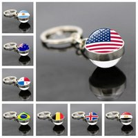 Fine Key Chain Russia World Cup 32 Ring Pendant Football Flag Time Stone Double-sided Glass Ball