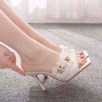 Sandals Women's high-heeled sandals, open-toed square-heel slippers for women, summer sandals with flower prints and white lace TKV2