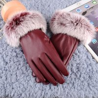 Sports Gloves Women Winter Warm Touch Screen Black Fur Full Finger Mittens Driving Windproof Gants Hivers Femme Guantes