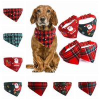 Christmas Pet Adjustable Collars Bandana Scarf Triangle Neckerchief For Cats Dogs Necklaces Pets Apparel Decorations WY1300