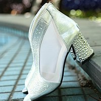 Peep Toe Gladiador Sandalias Mujeres Bling Tacones Altos Diamante Verano Cuadrado Tacón Feminina Zapatos Boda Malla Sandalia Mujer