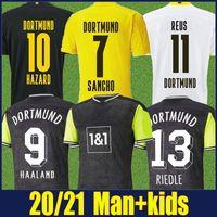 Dortmund 축구 유니폼 20/21 레트로 90s 영감 스페셜 셔츠 Reus Sancho Haaland Football Jersey Hummels Brandt 위험 남성 키트 110 주년 기념 버전 탑