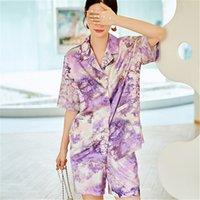Trendy Women Sleepwear Sapa de noche Ropa de dormir de gama alta Pijamas Pájaros Hogar Paño suelto Manga larga Damas Pijamas