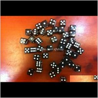 Gambing Small Square Corners 10Mm Black Dices Plane Model Design Dice Puzzle Boson Miniature 3D Accessories Souvenir Decoration 100Pcs Ljlr1