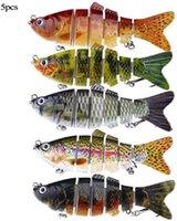 "5pcs Fishing Lures Baits For Bass 3.9"" Multi Jointed Swimbaits Slow Sinking Hard Lure Tackle Kits Hooks"