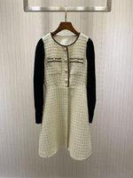 2021 Autumn Black White Patchwork Women Dress Designer Buttons Tweed Vestidos De Festa 101502