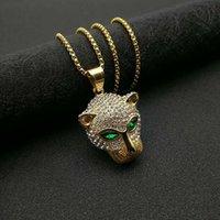 Collana con pendenti a testa di Leopard Leopard Iced Out Bling Collana con colore oro in acciaio inox Catena in acciaio inox Cubic zircone gioielli hip hop hip hop