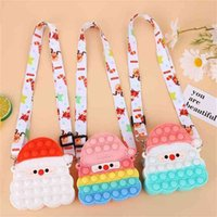 Christmas Fidget Toys Kids Gift Santa Claus Crossbody Backback Purses Push Poppet Bubble Poppers Board Bags Kids Xmas Props Candy Pouch Cosmetic Bag Wallet G02SVPX