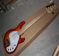 Diapasón de arce de alta calidad Música Music Stingray 5 Cherry Burst Bass Electric Guitar With 9V Battery Pickups Active