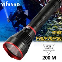 Flashlights Torches Stepless Dimming Scuba Dive LED Diving Light Cree XHP90 XHP70 XHP50 Super Bright 4000lm 26650 10000mAh Torch With Hand R