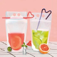 Home Storage Transparent Beverage Bag With Frosted Zipper Standing Plastic Straw Can Be Re-closed For Insulated Juice Storage