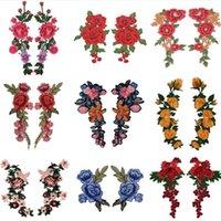 20 pcs Bordado Rosa Flower Patch Applique Costura Nociões Diy Crafts Stiker para calça jeans chapéu saco de roupas acessórios de acessórios (costurar ou ferro sobre)