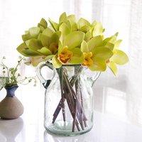 장식 꽃 화 환 광저우 시뮬레이션 꽃다발 도매 4 스틱 느낌 cymbidium 홈 장식 결혼식 꽃 아트