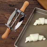 Upspirit الفولاذ المقاوم للصدأ المتداول القاطع لجعل كرواسون عجلة الخبز العجين المعجنات سكين مقبض خشبي أدوات المطبخ الخبز