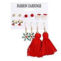 Winter Pearl Tassel Christmas Dangle Earring Set Fashion Snowflake Tree Geometric Alloy Earrings Female Child New Year Jewelry 50047