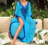 Vestidos de gasa bordada de gran tamaño, vestido suelto, vestido de baño, cubierta, traje de sol de playa.