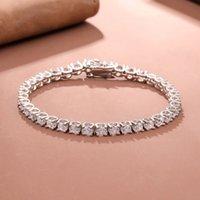 Чистое серебро 15-18 см на теннисный браслет ювелирные изделия Pave Site 4 мм 5А CZ Вечный подарок для жены потрясающие реальные 925 изысканные украшения