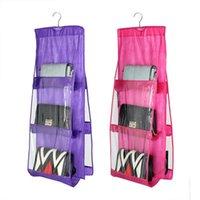 Storage Bags Transparent Handbag Purse Bag Double Sided 6 Pockets Hanging Books Organizer Dustproof Foldable Wardrobe Closet Hanger