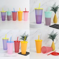24oz Temperature Sensing Cups with Lid and Straw Reusable Clear Colors Cold Cupummer Beer Mugs 839 Z2
