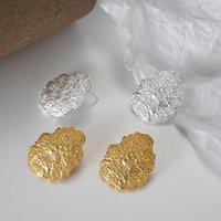 Stud Real 925 Sterling Silver Earrings For Women Irregular Textural Ear Pierced Korean Earings Fashion Jewelry 2021 Drop