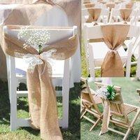 10 unids / lote 17 * 275cm arpillera de yute Hessian Natural Silla elegante Silla Sillón de lazo de lazo de lazo para las fajas de la decoración de la boda rústica