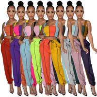 Mulheres Tracksuit Designer Verão Casual Slim Vest Sportswear Sling Sling Shorts Two-Peça Conjuntos De Contraste Costura De Costura Jogging Terno