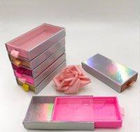 Custom Lash Packaging Slide Drawer Glitter Paper Lashes Boxes for 25mm Long Dramatic Mink Eyelashes Empty Lash Case