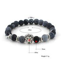 Jewelry Other Bracelets Grey blue fossil agate hand beads Buddha lion head bracelet style