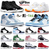 2021 With Box Jumpman 1 1s Mens Basketball Shoes Hyper Royal University Blue Obsidian Unc Lucky Green 11 11s 25th Anniversary Women Sneakers