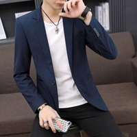 2021 new spring casual Korean slim solid color men's suit single west coat