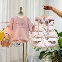 Winter girls clothing sets kids letter embroidery velvet sweatshirt+fleece hooded thicken waistcoat 2pcs children warm outfits Q2843