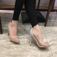 Diseñador de primavera y verano estilo elegante zapatos de mujer Rhinestone tacones altos de cristal Punta puntiaguda Malla alto Tacones altos Suela roja de las mujeres Boda SH