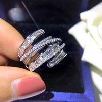 925 linhas de luxo de prata esterlina anel linhas geométricas cheias de anel de diamante feminino cocktail acessórios high-end atacado