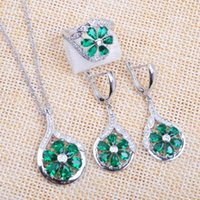 Earrings & Necklace Wedding Jewelry Sets Russian Style For Women Green Crystal Cubic Zircon Ring Pendant 2021