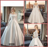 Robe demariage 2021 white lace satin a line wedding dress scoop neck long sleeve open back sexy corset bridal gowns princess garden floor length simple bride dresses