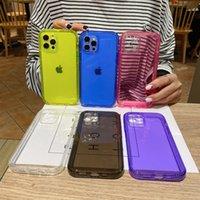 네온 형광 색상 전화 뒷면 커버 아이폰 12 미니 7 8 플러스 소프트 TPU 아이폰 12 11 프로 XR XS 최대 충격 방지 케이스