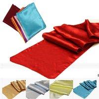Runners de table en satin pour la décoration de mariage Soie lumineuse et tissu lisse Tableau de layine de layine 30cm x 275cm DHF6667